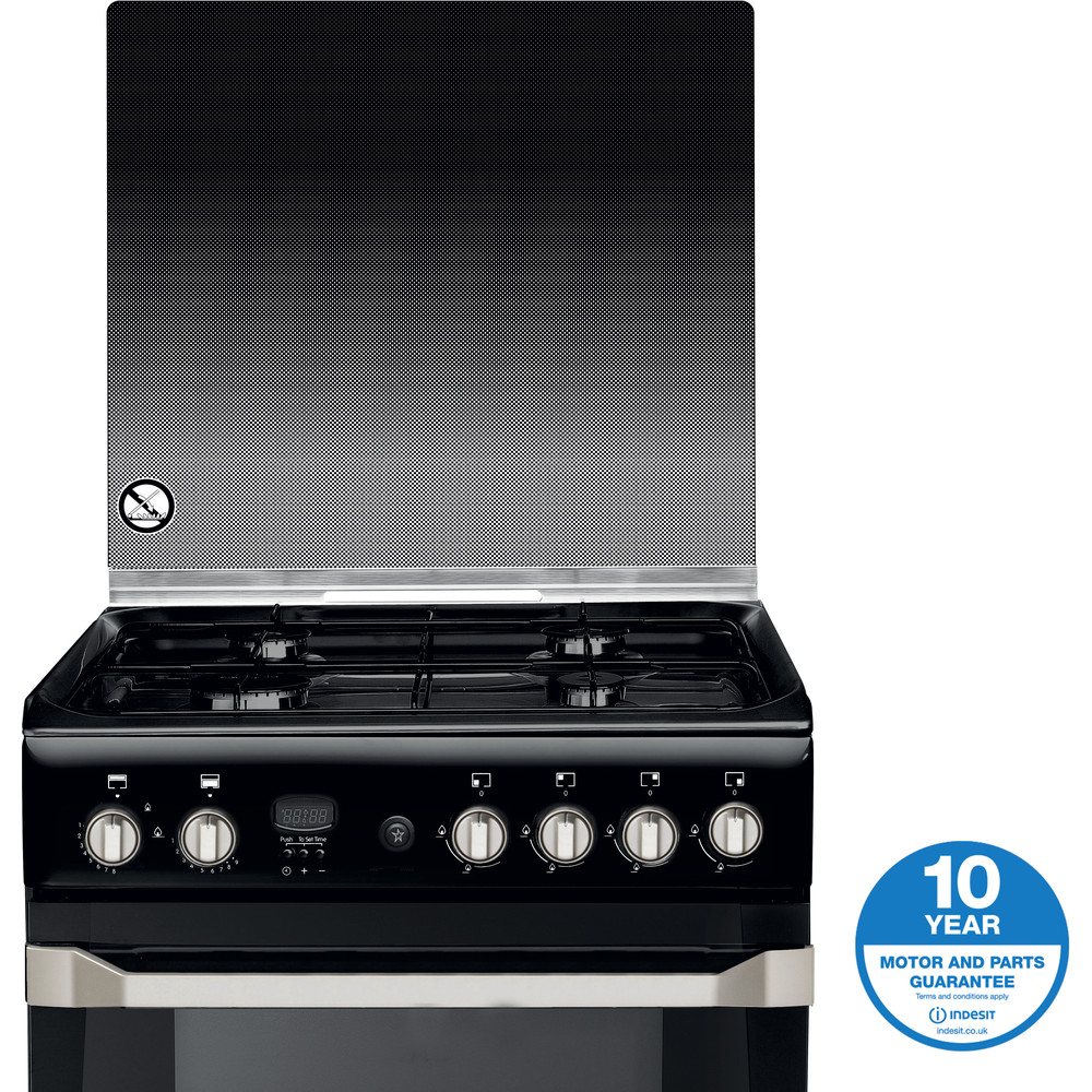 Indesit Double Cooker ID60G2(K)/UK Black A+ Enamelled Sheetmetal Award