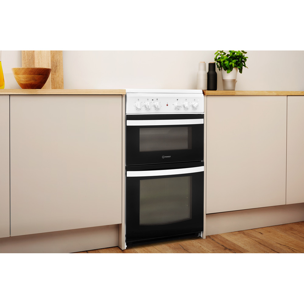 Indesit Double Cooker ID5V92KMW/UK White A Vitroceramic Lifestyle perspective
