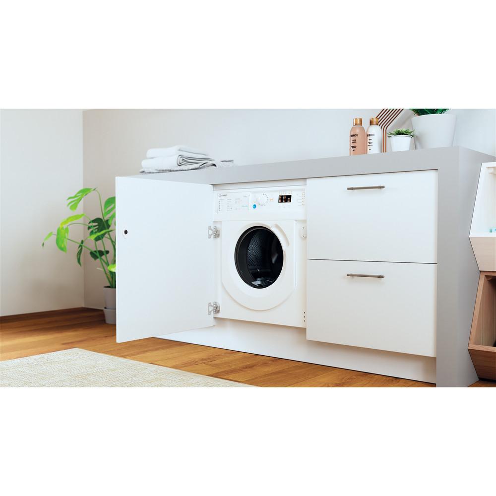 Indesit Washer dryer Built-in BI WDIL 75125 UK N White Front loader Lifestyle perspective