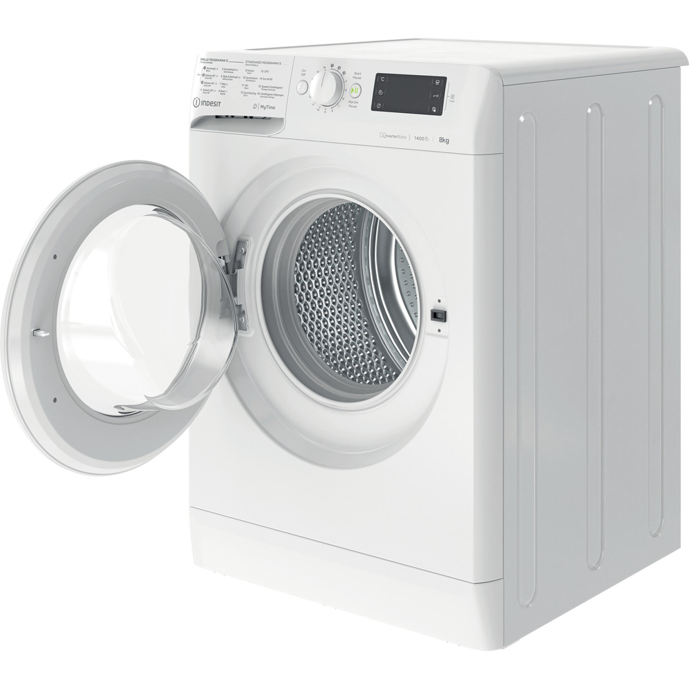 Indesit Lave-linge Pose-libre MTWE 81483 W BE Blanc Frontal D Perspective open