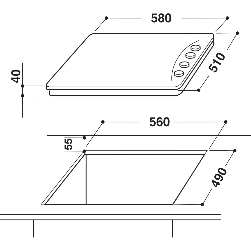 Indesit Варочная поверхность TI 60 X Inox Solid Plate Technical drawing