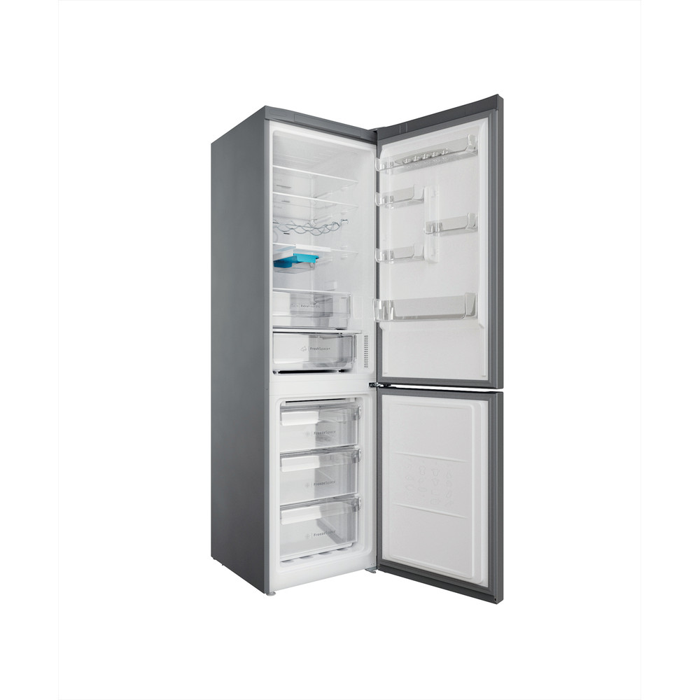 Indesit Combinación de frigorífico / congelador Libre instalación INFC9 TO32X Inox 2 doors Perspective open