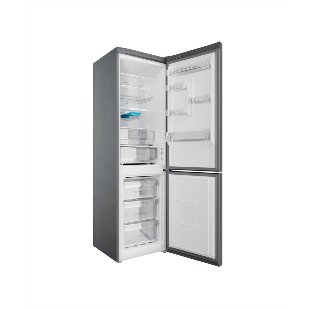 Indesit Combiné réfrigérateur congélateur Pose-libre INFC9 TO32X Inox 2 portes Perspective open