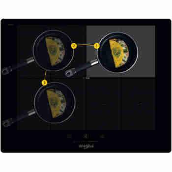 Whirlpool Table de cuisson SMP 658C/NE/IXL Noir Induction vitroceramic Frontal