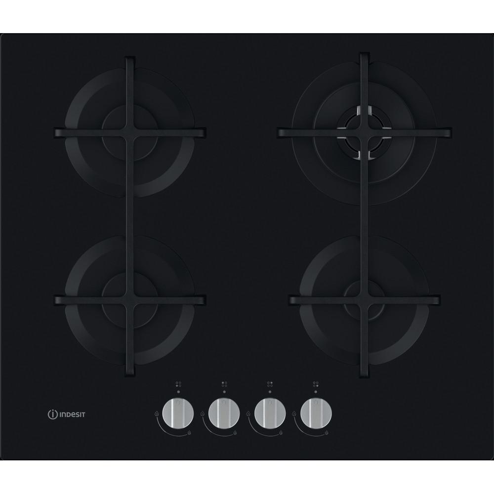 Indesit Table de cuisson ING 62T/BK Noir GAS Frontal
