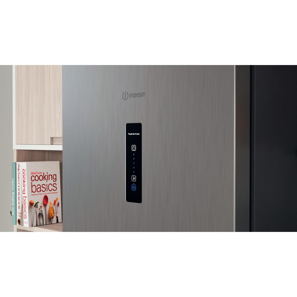 Indesit Combiné réfrigérateur congélateur Pose-libre INFC9 TO32X Inox 2 portes Lifestyle control panel