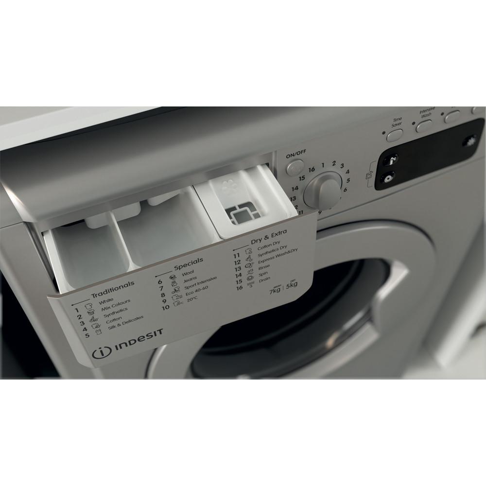 Indesit Washer dryer Free-standing IWDD 75145 S UK N Silver Front loader Drawer