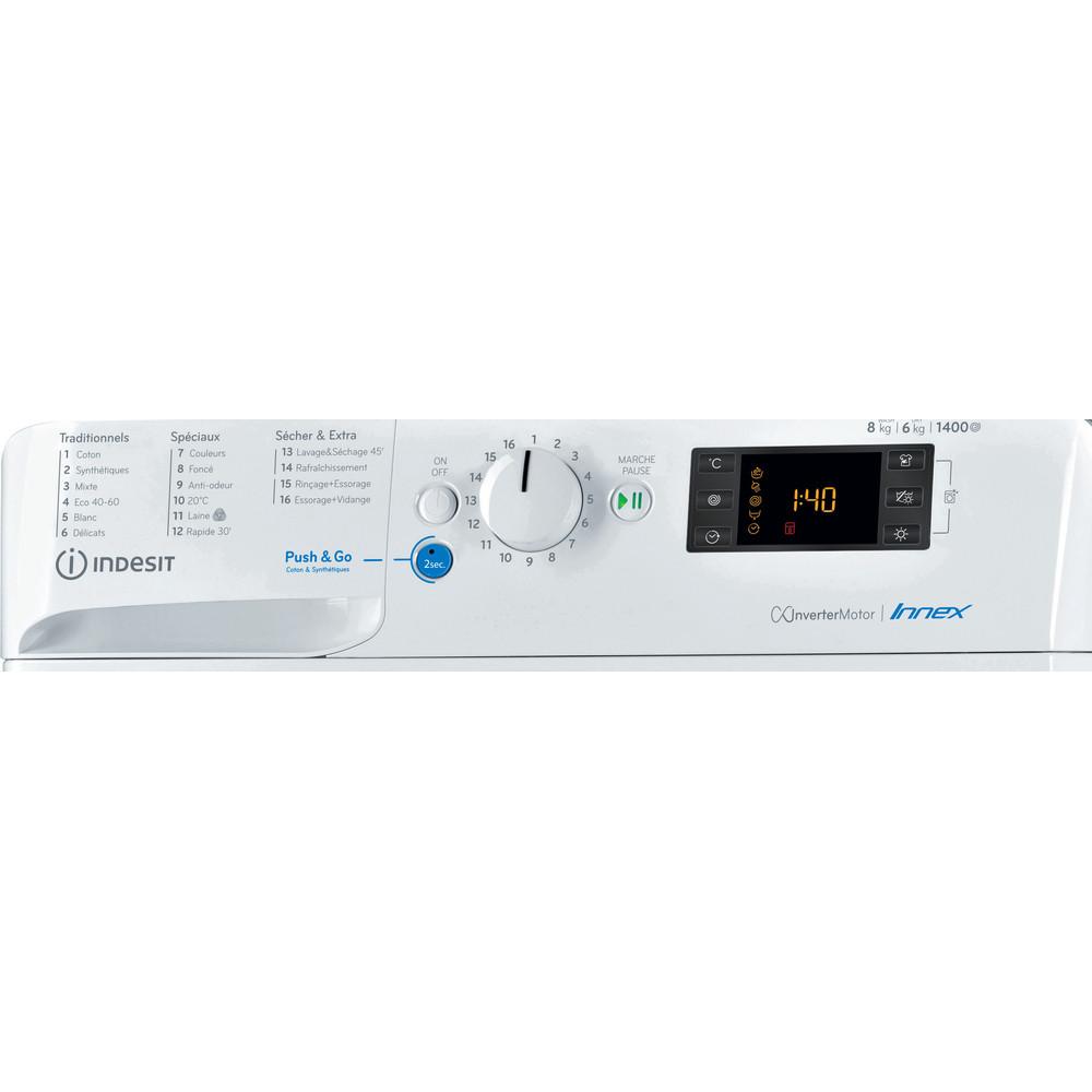 Indesit Lavante-séchante Pose-libre BDE861483XWFR N Blanc Lave-linge frontal Control panel