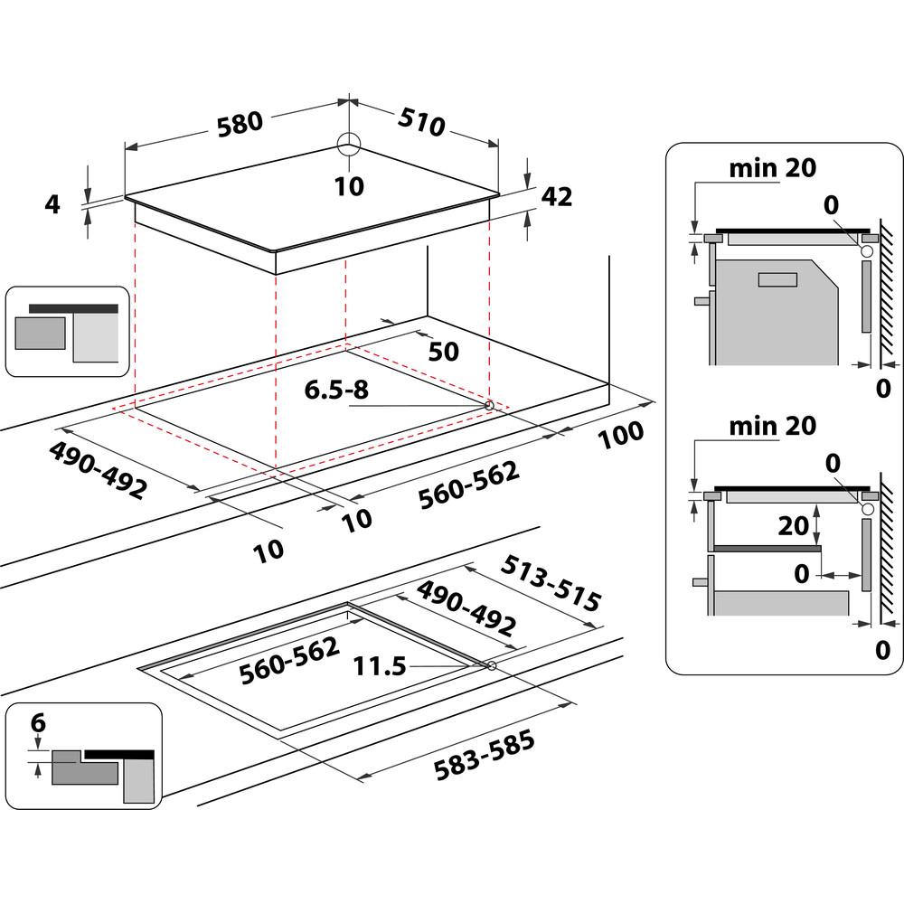 Indesit Placa RI 161 C (ES) Preto Radiant vitroceramic Technical drawing