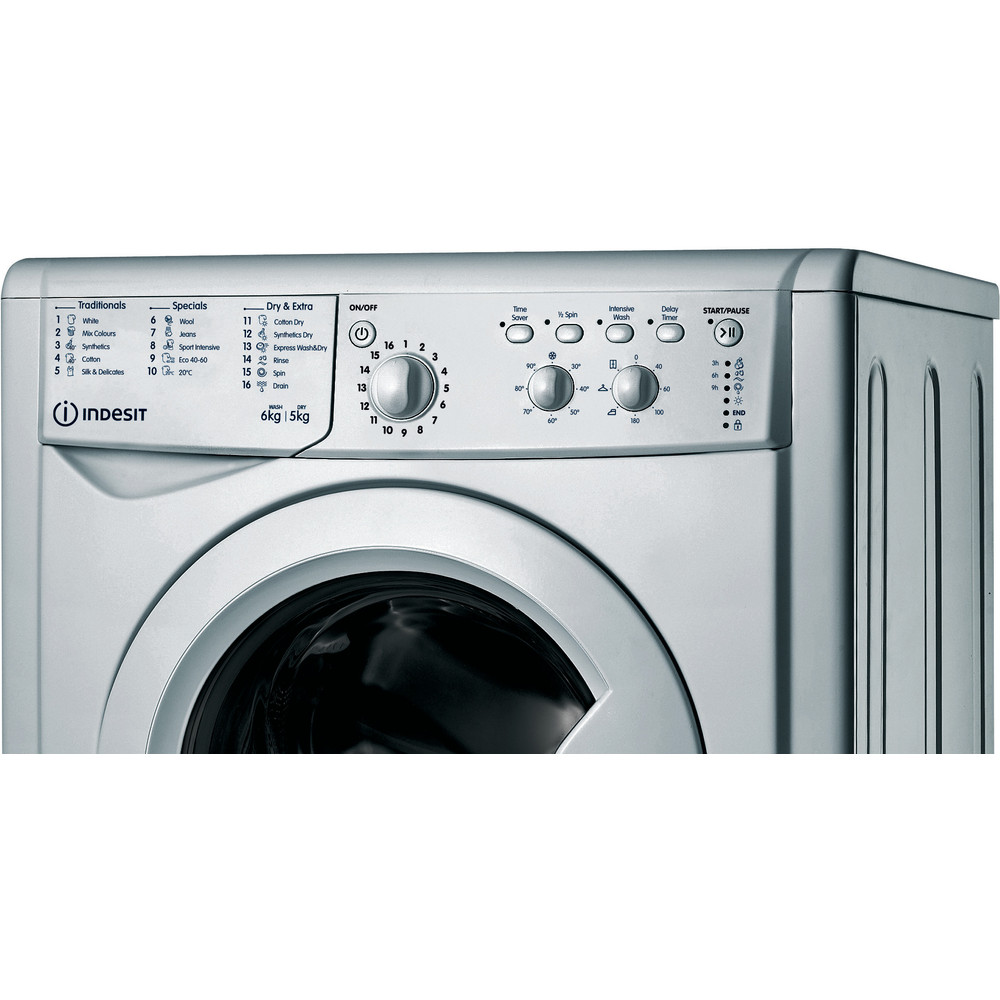 Indesit Washer dryer Free-standing IWDC 65125 S UK N Silver Front loader Control panel