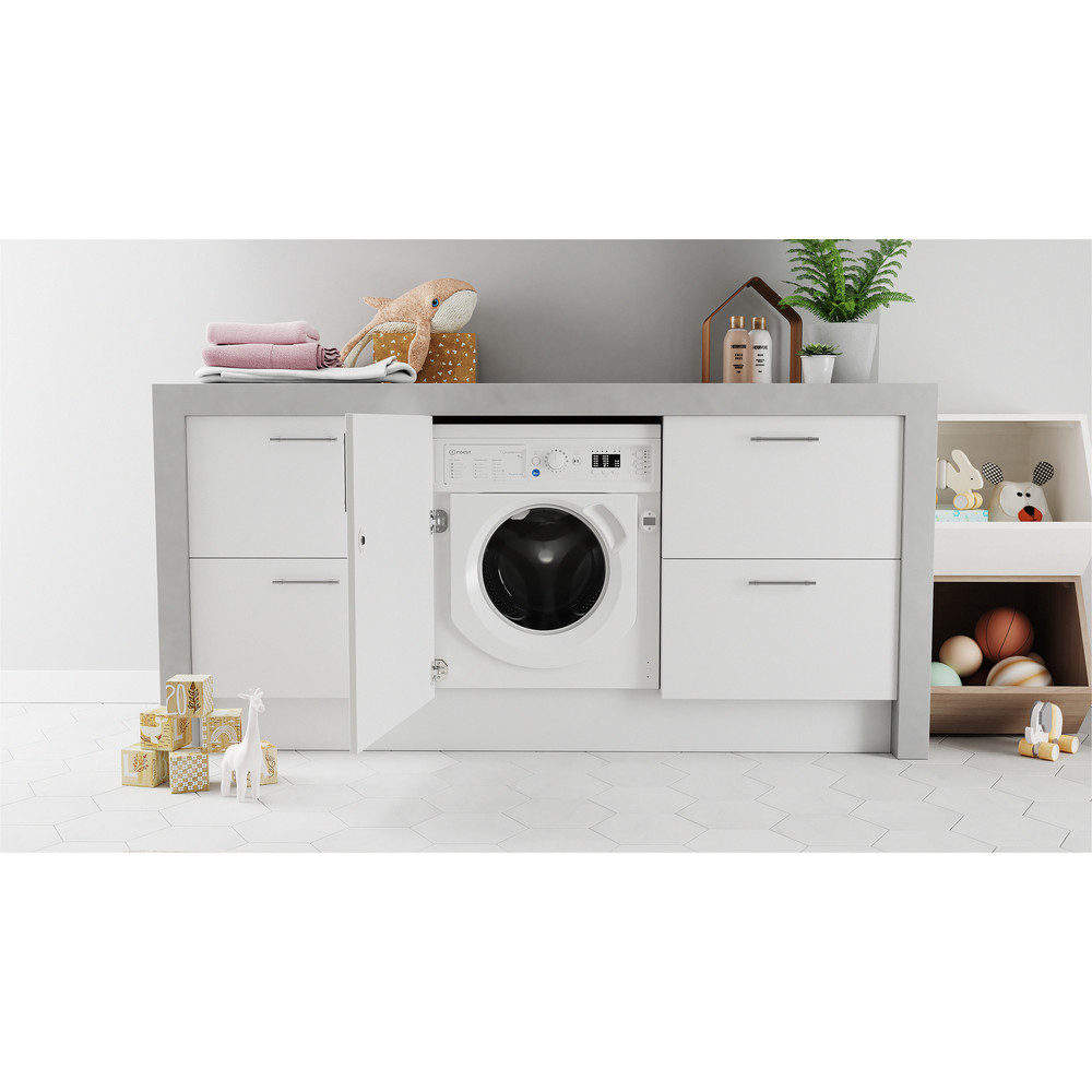 Indesit Washing machine Built-in BI WMIL 91484 UK White Front loader C Lifestyle frontal