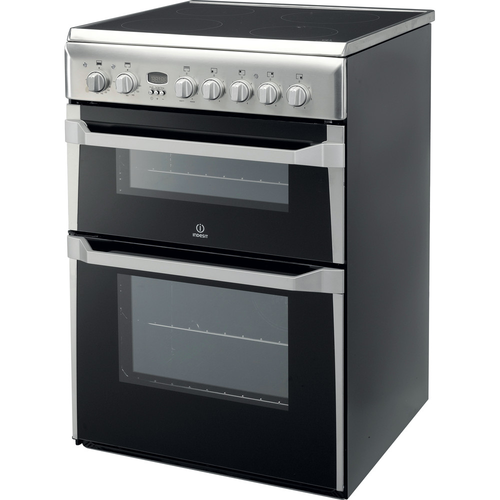 Indesit Double Cooker ID60C2(X) S Inox B Vitroceramic Perspective