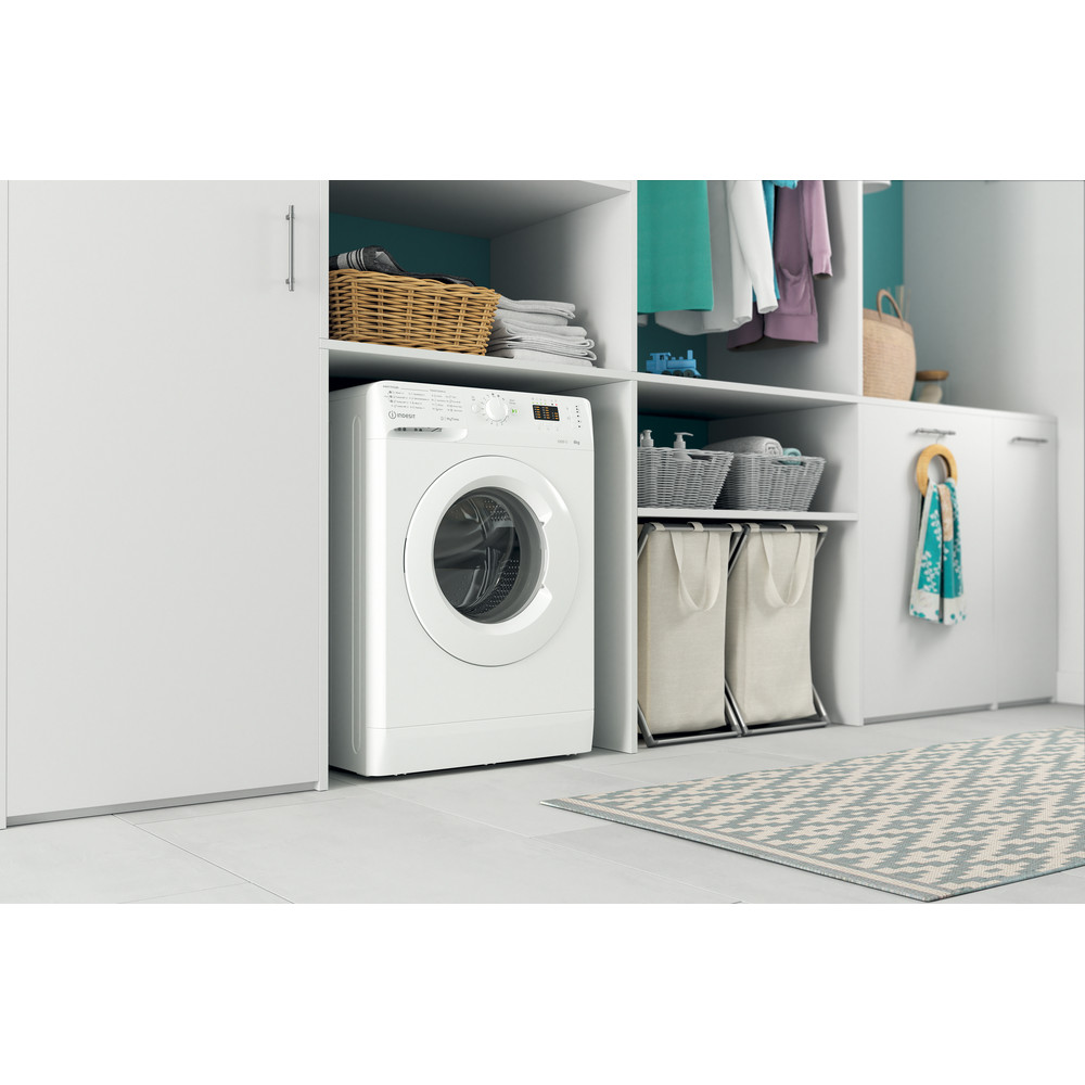 Indesit Lave-linge Pose-libre MTWSA 61252 W EE Blanc Frontal A+++ Lifestyle perspective