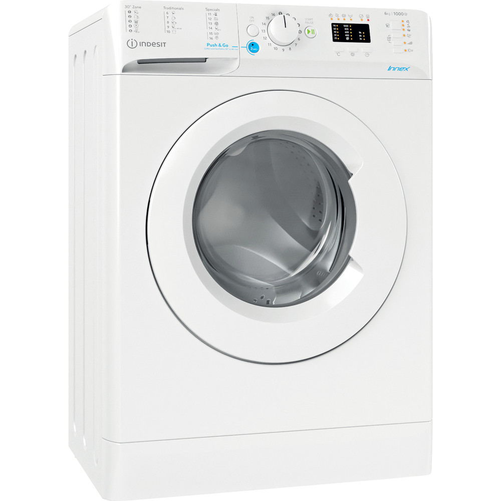 Indesit Πλυντήριο ρούχων Ελεύθερο BWSA 61051 W EU N Λευκό Front loader F Perspective