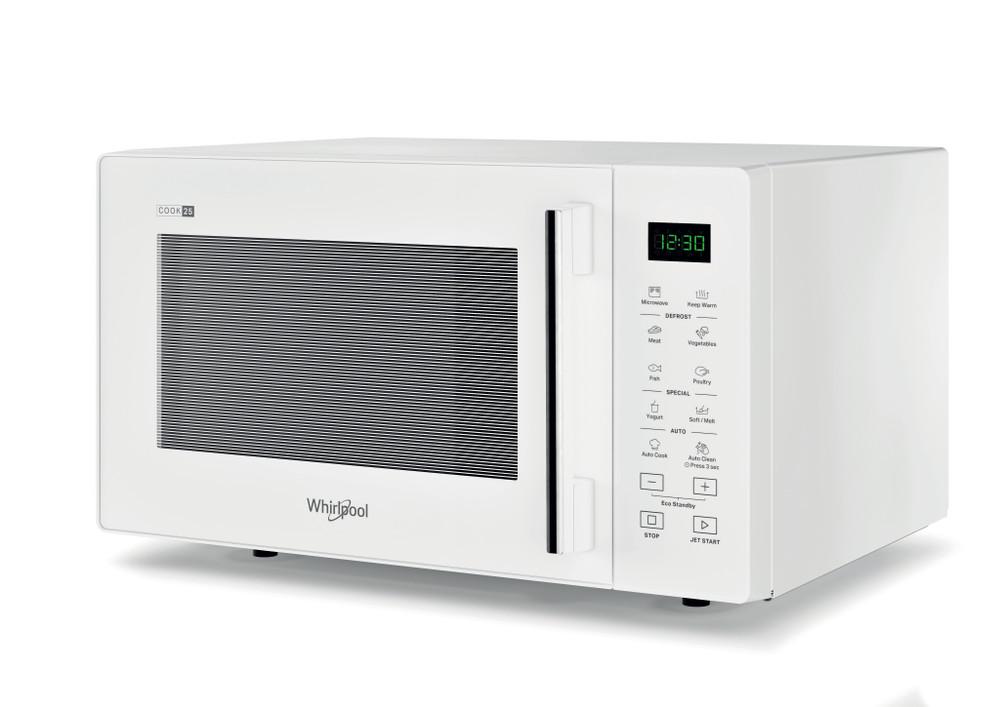 Whirlpool Mikroaaltouuni Vapaasti sijoitettava MWPS 251 W Valkoinen Elektroninen 25 Vain mikroaaltotoiminnot 900 Perspective