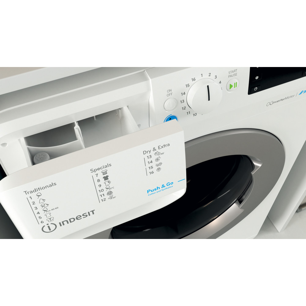 Indesit Pračka se sušičkou Volně stojící BDE 961483X WS EU N Bílá Front loader Drawer