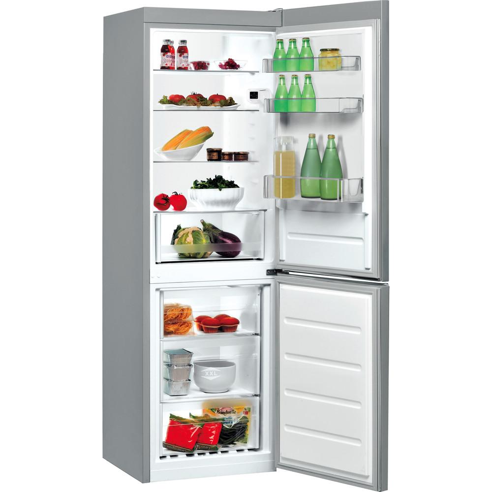 Indesit Réfrigérateur combiné Pose-libre LI7 SN2E X Inox 2 portes Perspective open