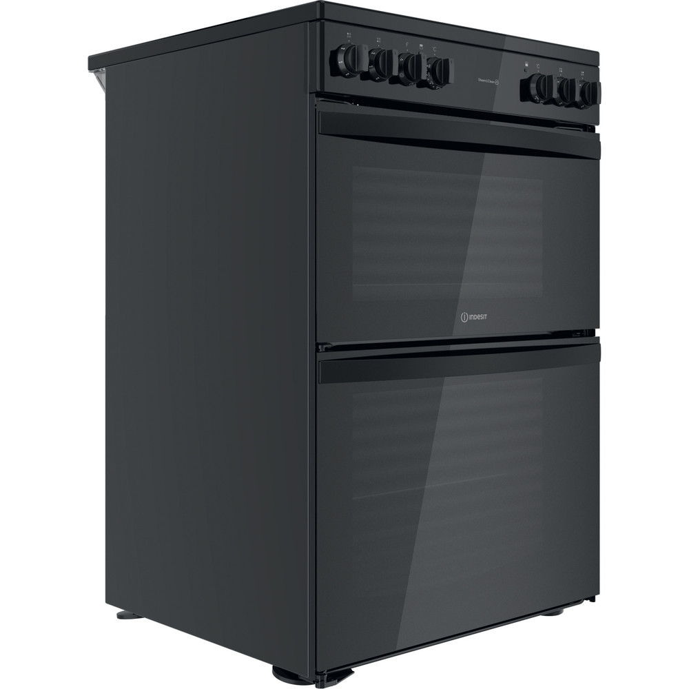 Indesit Double Cooker ID67V9KMB/UK Black B Perspective