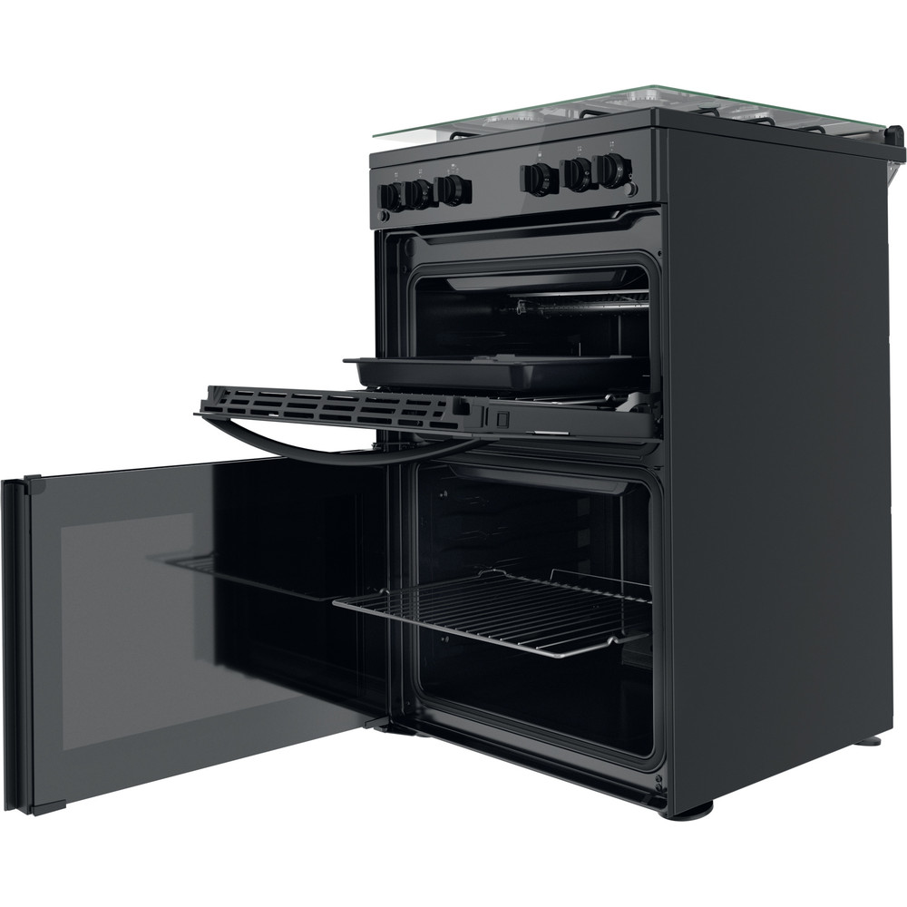 Indesit Double Cooker ID67G0MMB/UK Black A+ Perspective open