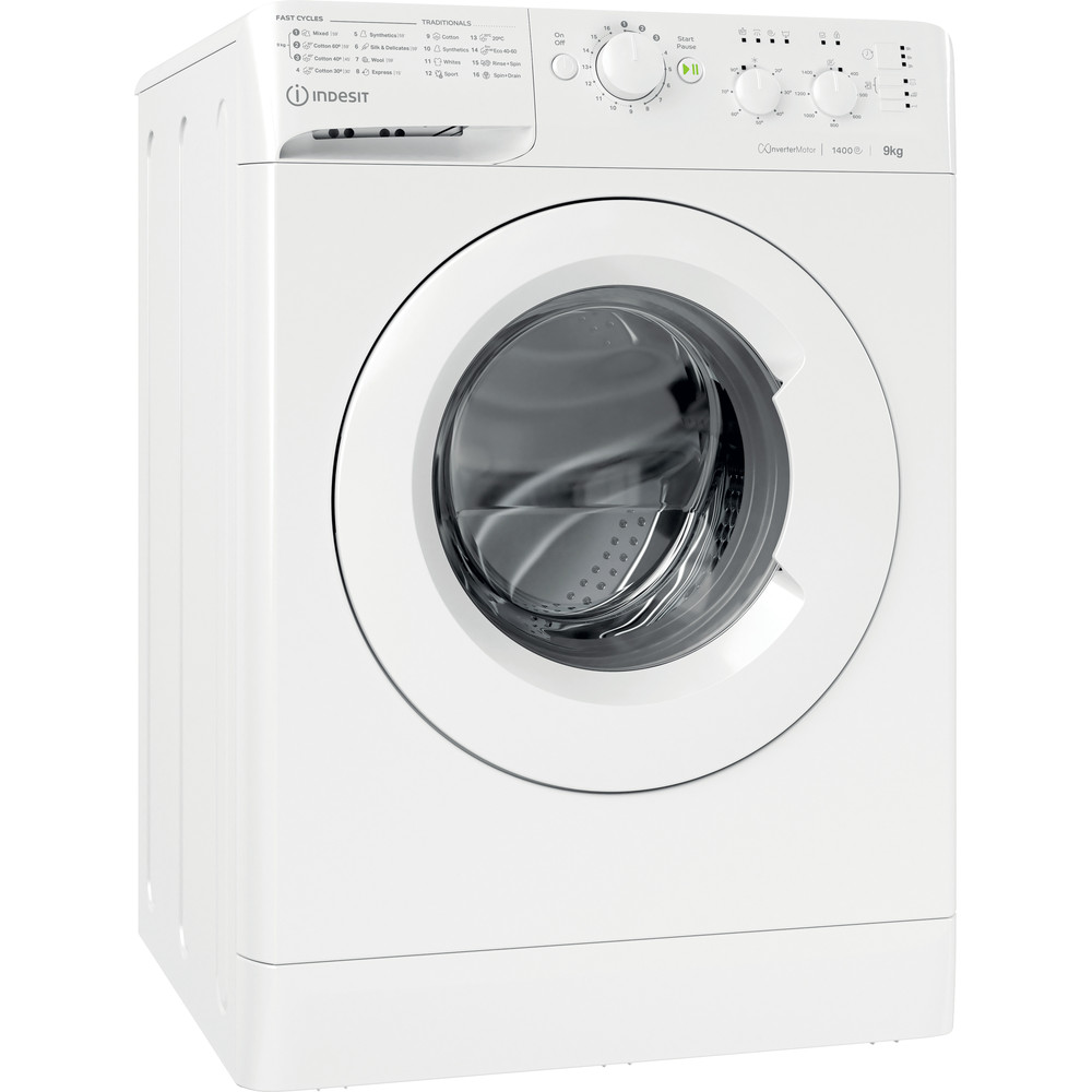 Indesit Washing machine Free-standing MTWC 91483 W UK White Front loader A++ Perspective