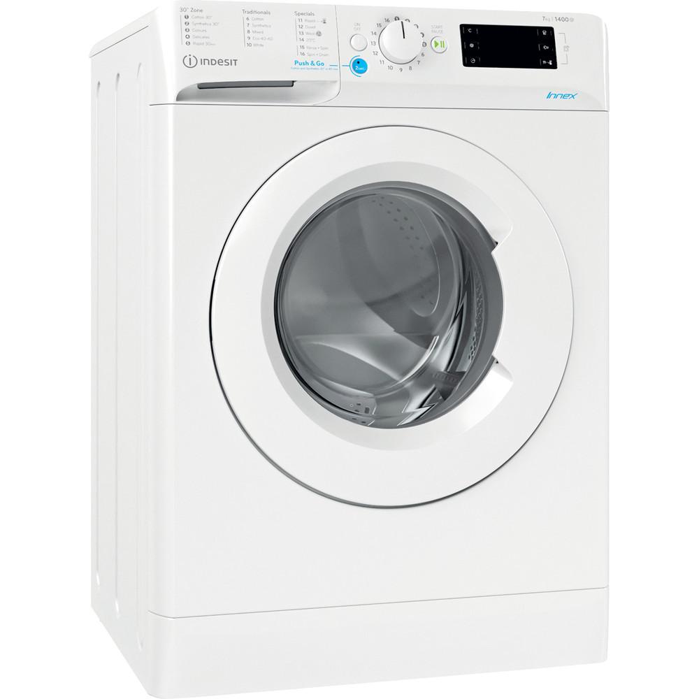 Indesit Washing machine Free-standing BWE 71452 W UK N White Front loader E Perspective