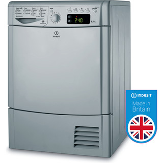 Indesit Dryer IDCE 8450 BS H (UK) Silver Perspective