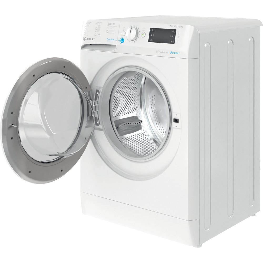 Indesit Lavadora secadora Libre instalación BDE 761483X W SPT N Blanco Cargador frontal Perspective open