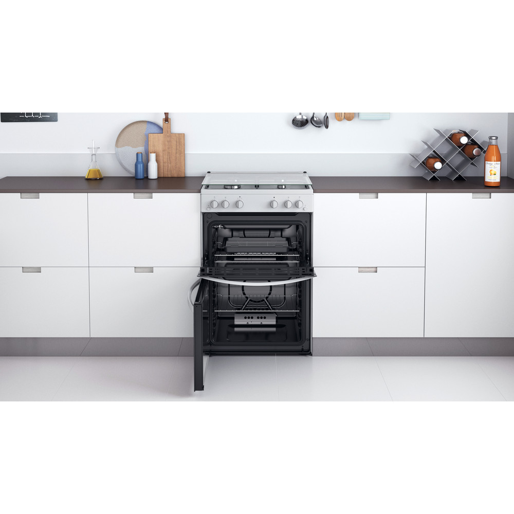 Indesit Double Cooker ID67G0MCW/UK White A+ Lifestyle frontal open