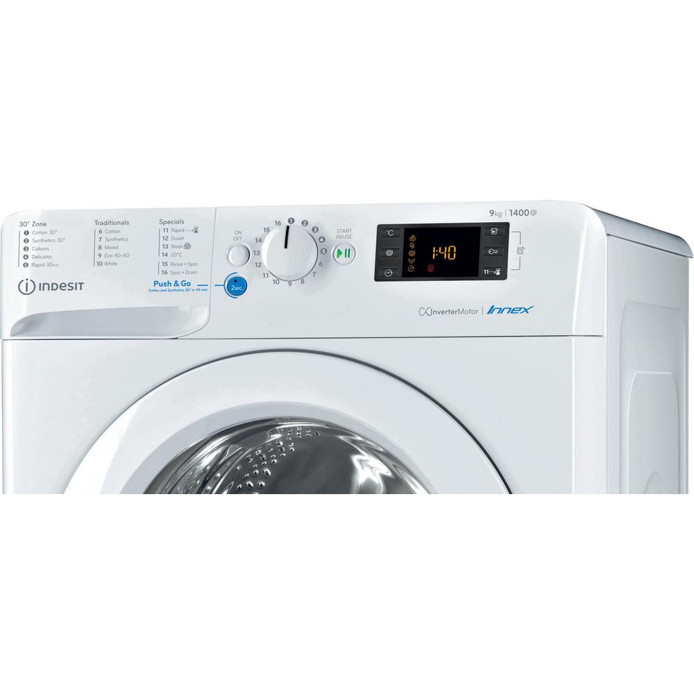 Indesit Washing machine Free-standing BWE 91484X W UK N White Front loader A+++ Control panel