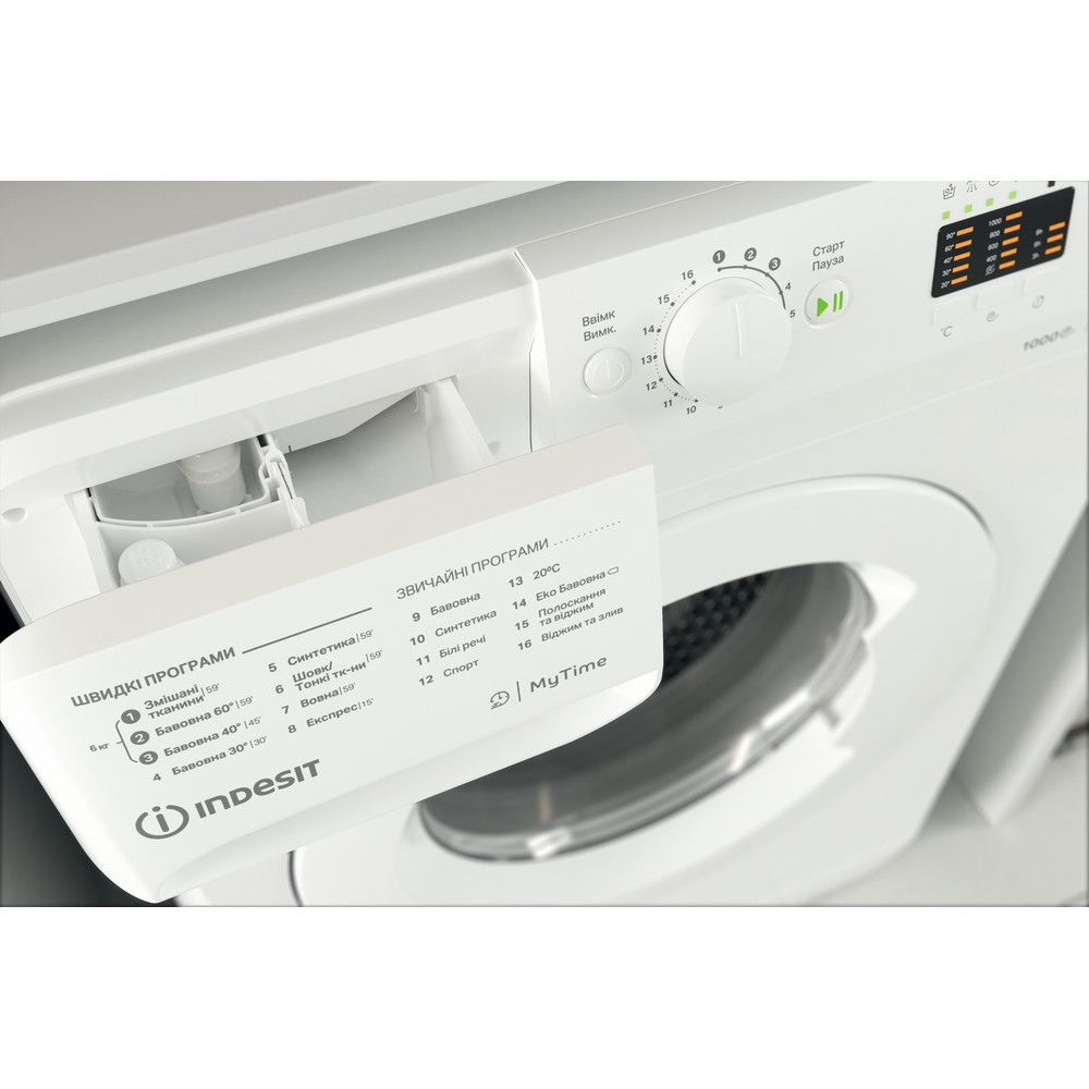 Indesit Пральна машина Соло OMTWSA 61052 W UA Білий Front loader A++ Drawer