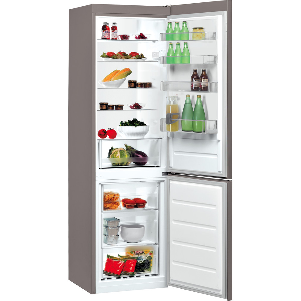 Indesit Холодильник с морозильной камерой Отдельно стоящий LI9 S1Q X Оптик Inox 2 doors Perspective open