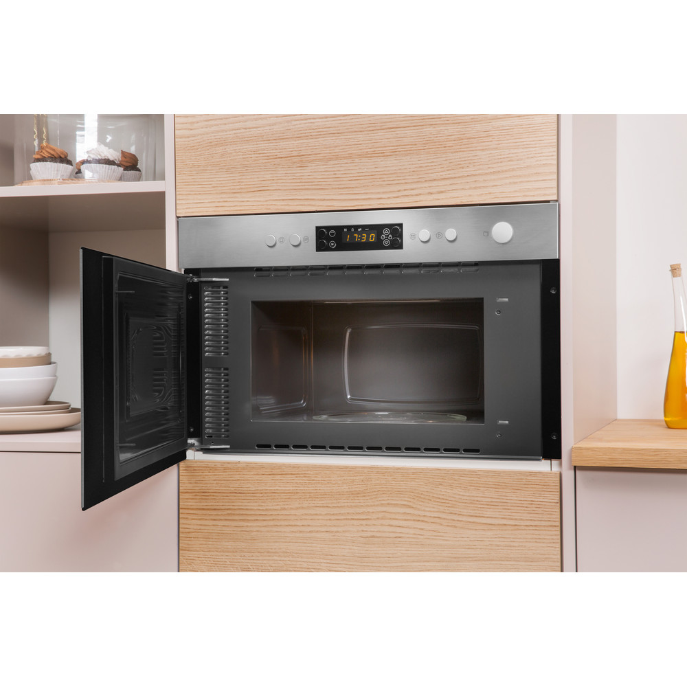 Indesit Microwave Built-in MWI 3213 IX UK Inox Electronic 22 MW+Grill function 750 Lifestyle perspective open