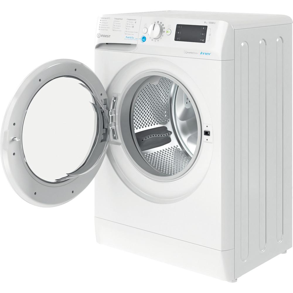 Indesit Стиральная машина Отдельностоящий BWSE 81282 L Белый Фронтальная загрузка A Perspective open