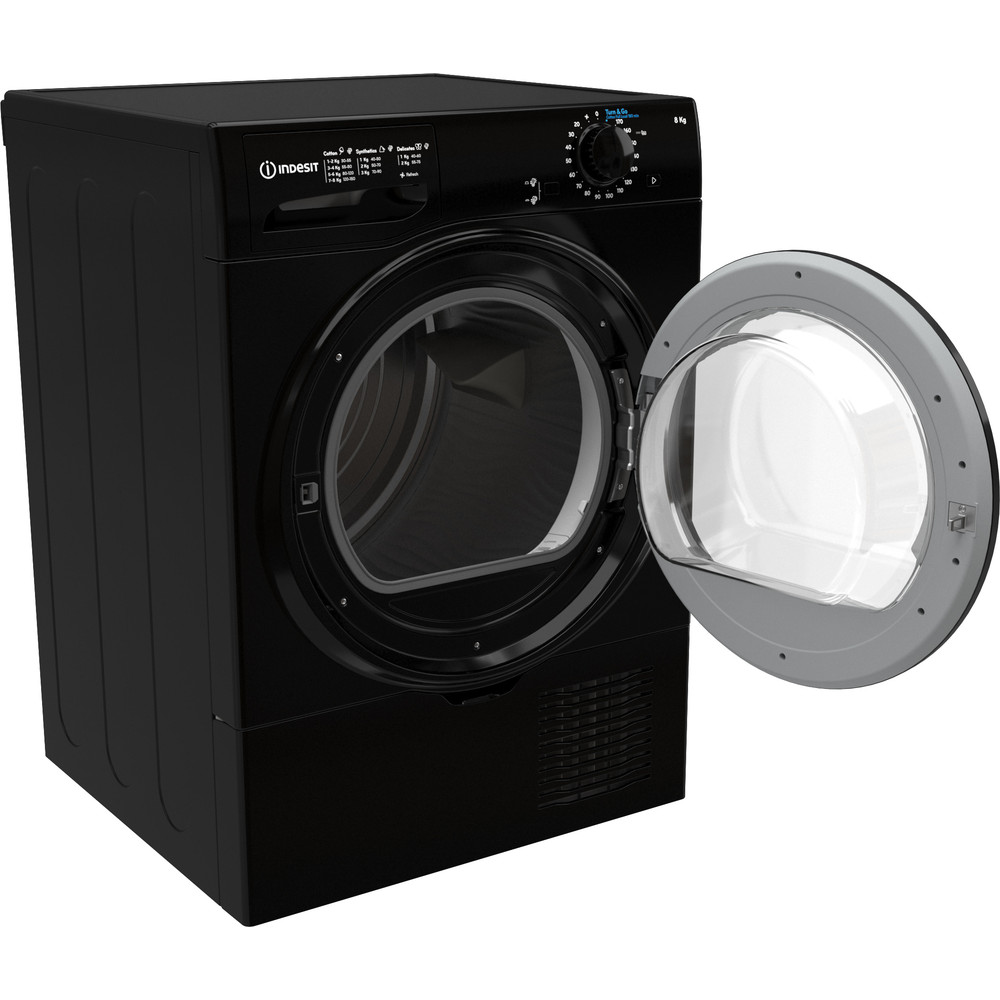 Indesit Dryer I2 D81B UK Black Perspective open
