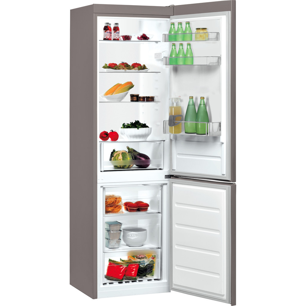 Indesit Kombinovaná chladnička s mrazničkou Volně stojící LI8 S2 X Nerez 2 doors Perspective open