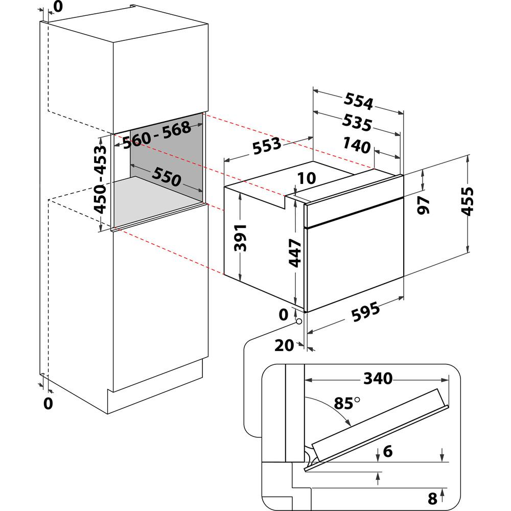 Indesit Four à micro-ondes Encastrable MWI 3445 IX Inox Électronique 40 Micro-ondes combiné 900 Technical drawing