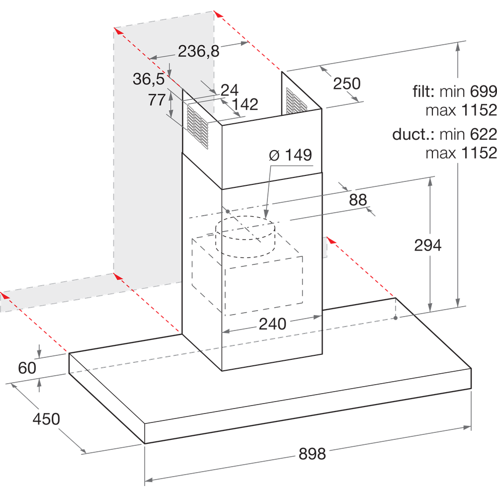 Indesit Exaustor Encastre IHBS 9.4 LM X Inox Wall-mounted Mecânico Technical drawing