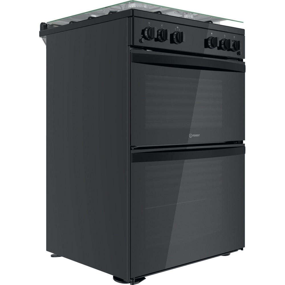 Indesit Double Cooker ID67G0MMB/UK Black A+ Perspective