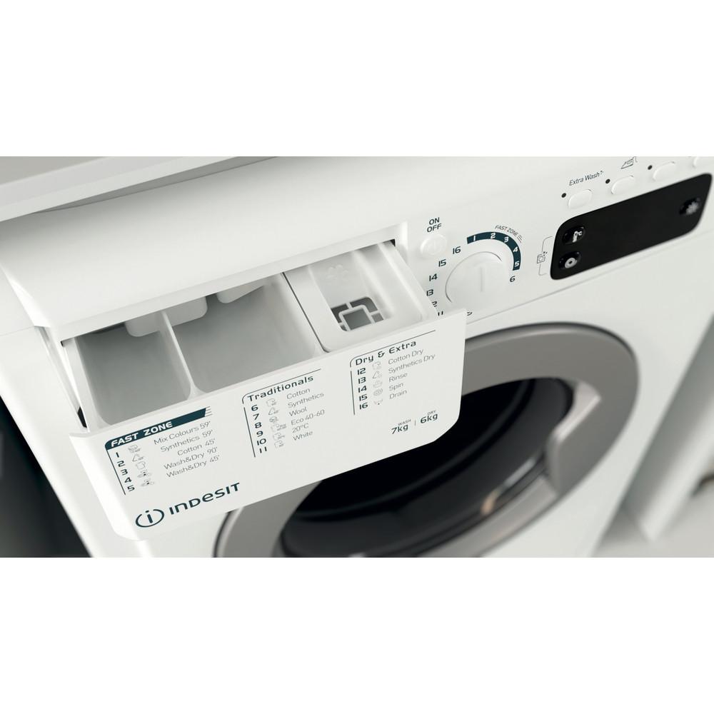 Indesit Kombineret vaskemaskine/tørretumbler Fritstående EWDE 761483 WS EE N Hvid Frontbetjent Drawer