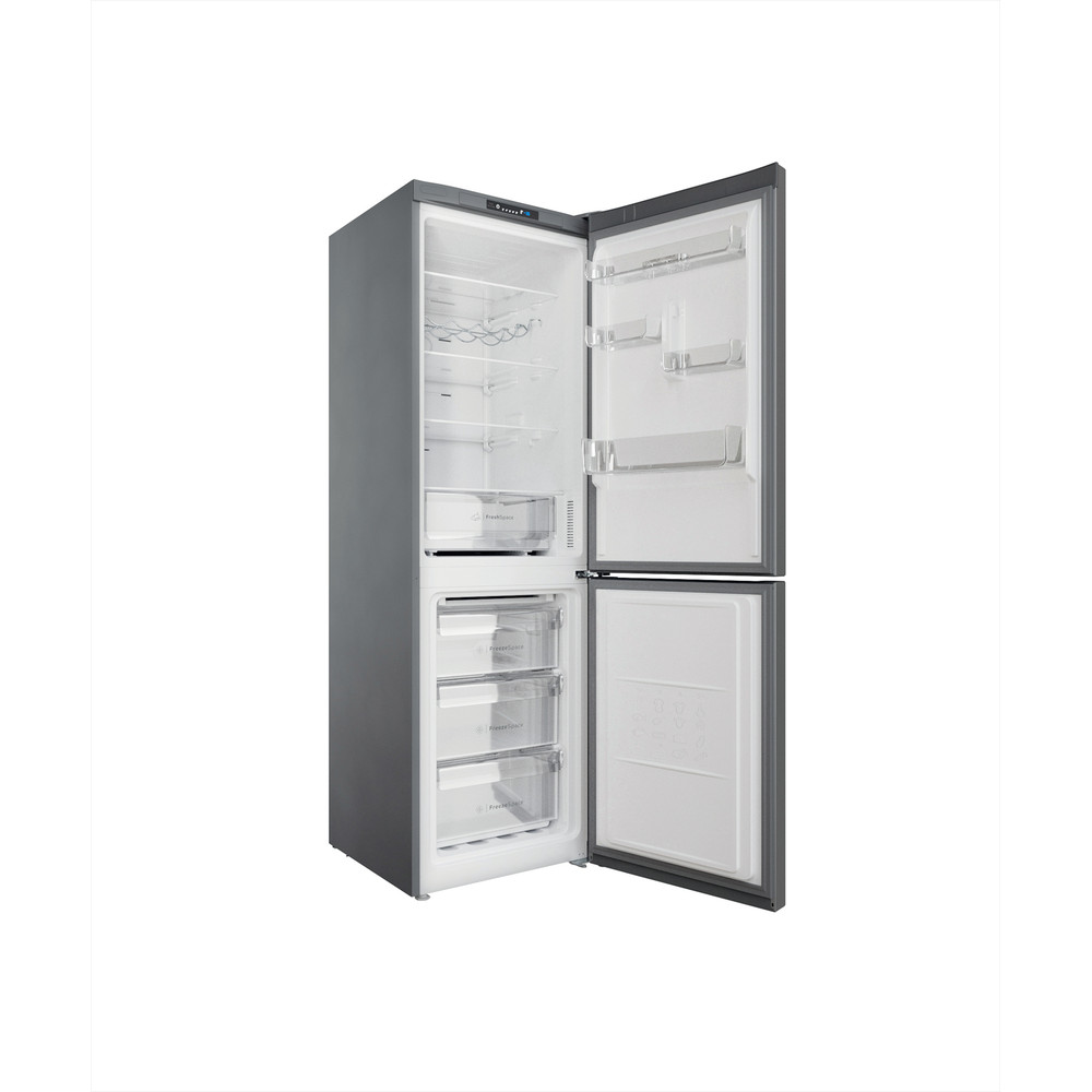 """""""Indesit"""" Šaldytuvo / šaldiklio kombinacija Laisvai pastatoma INFC8 TI21X Nerūdijančio plieno 2 doors Perspective open"""