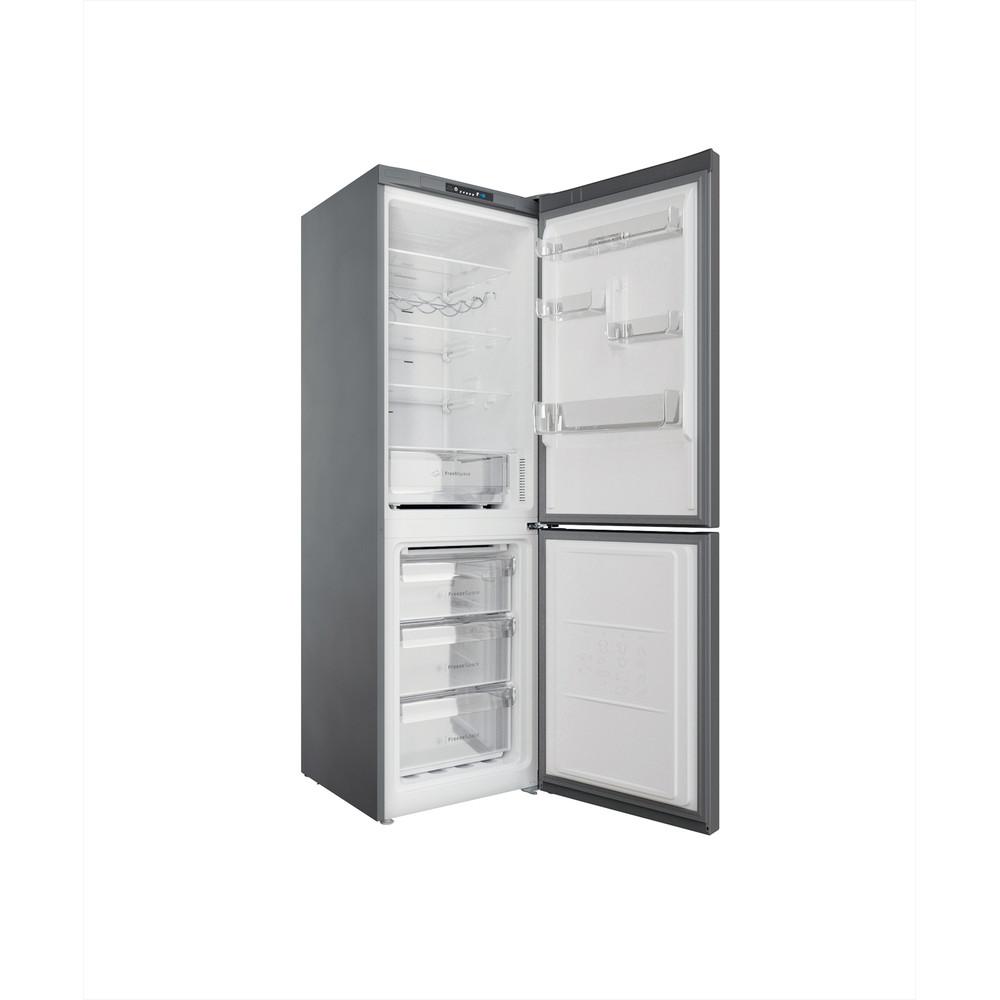 Indesit Kombiskap Frittstående INFC8 TI21X Inox 2 doors Perspective open