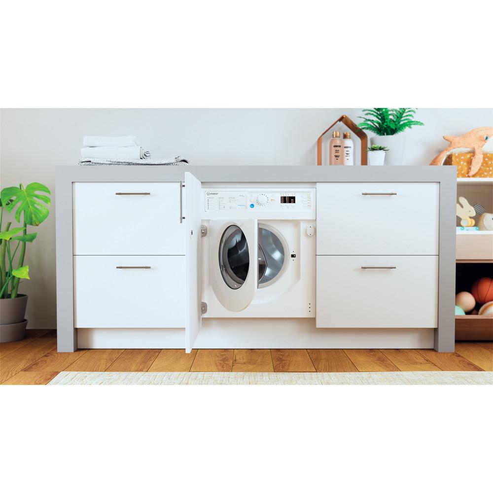 Indesit Washer dryer Built-in BI WDIL 75125 UK N White Front loader Lifestyle frontal open