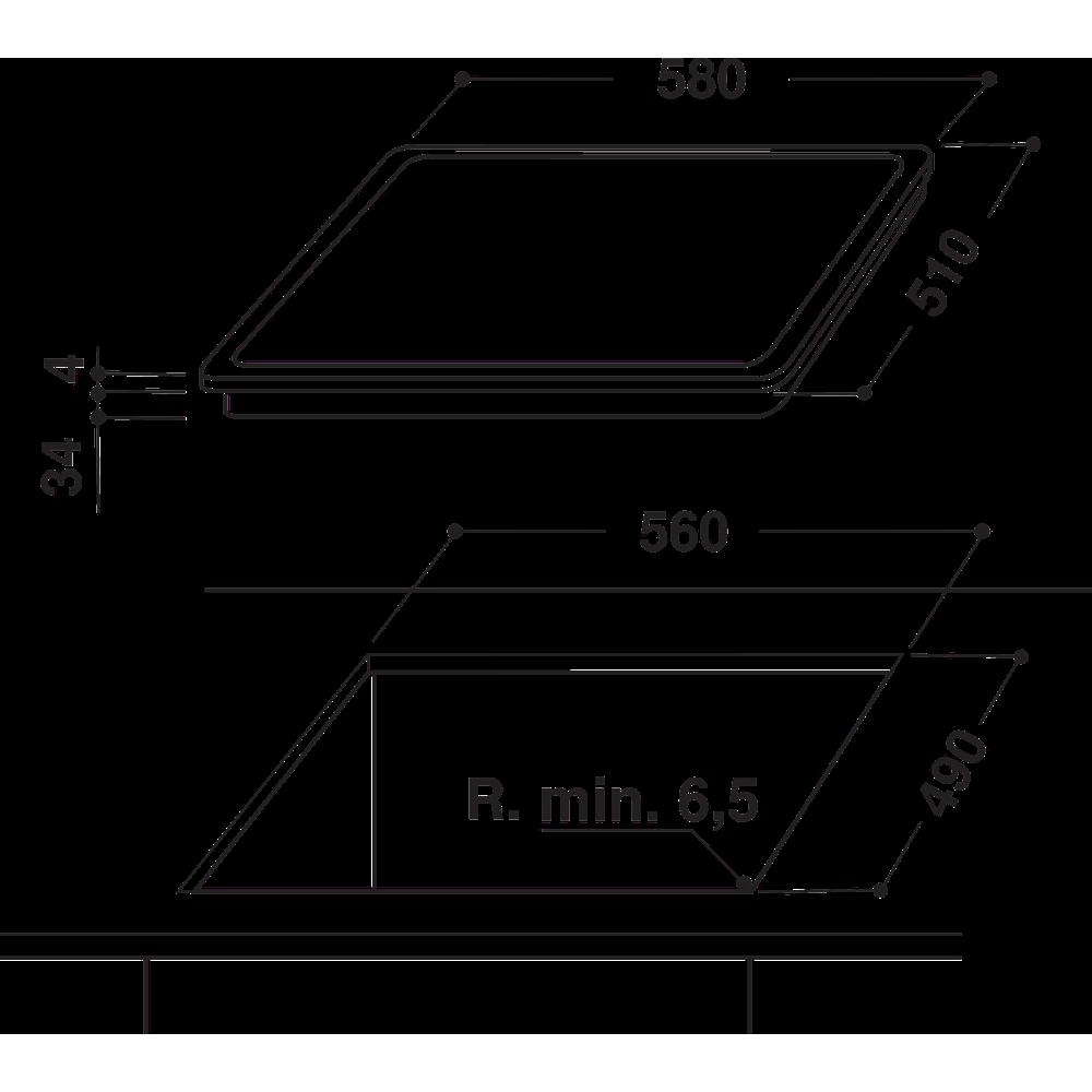 Indesit Kochfeld RI 1060 C Schwarz Radiant vitroceramic Technical drawing