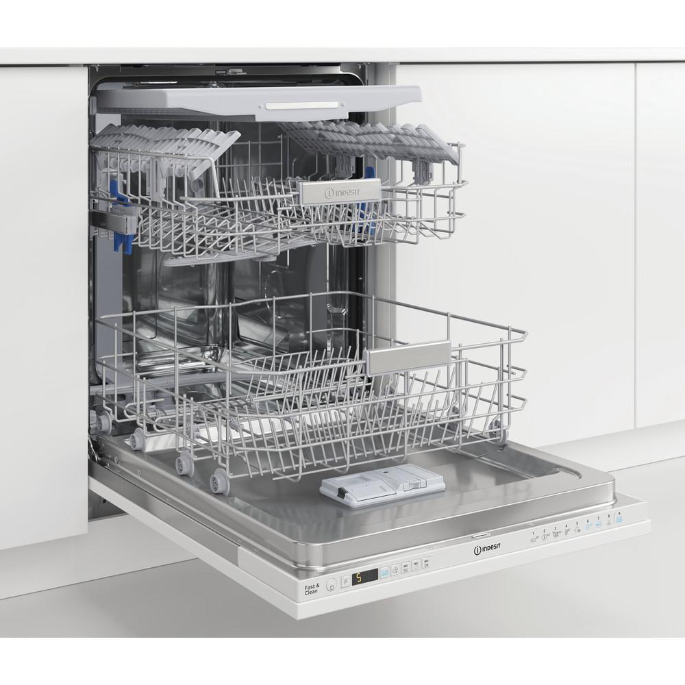 Indesit Vaatwasser Ingebouwd DIO 3T131 A FE Volledig geïntegreerd D Perspective open