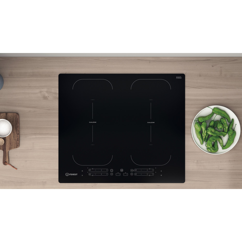 Indesit HOB IB 88B60 NE Black Induction vitroceramic Lifestyle frontal
