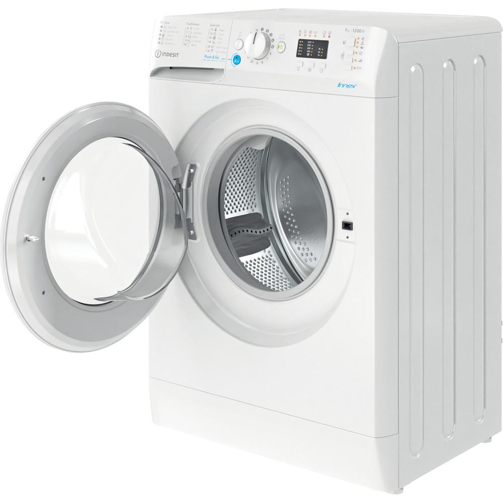 Indesit Veļas mazgājamā mašīna Brīvi stāvošs BWSA 71251 W EE N Balts Priekšējās ielādes E Perspective open