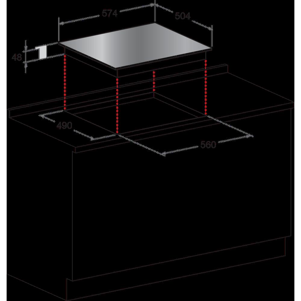 Indesit HOB VRB 640 X Inox Radiant vitroceramic Technical drawing