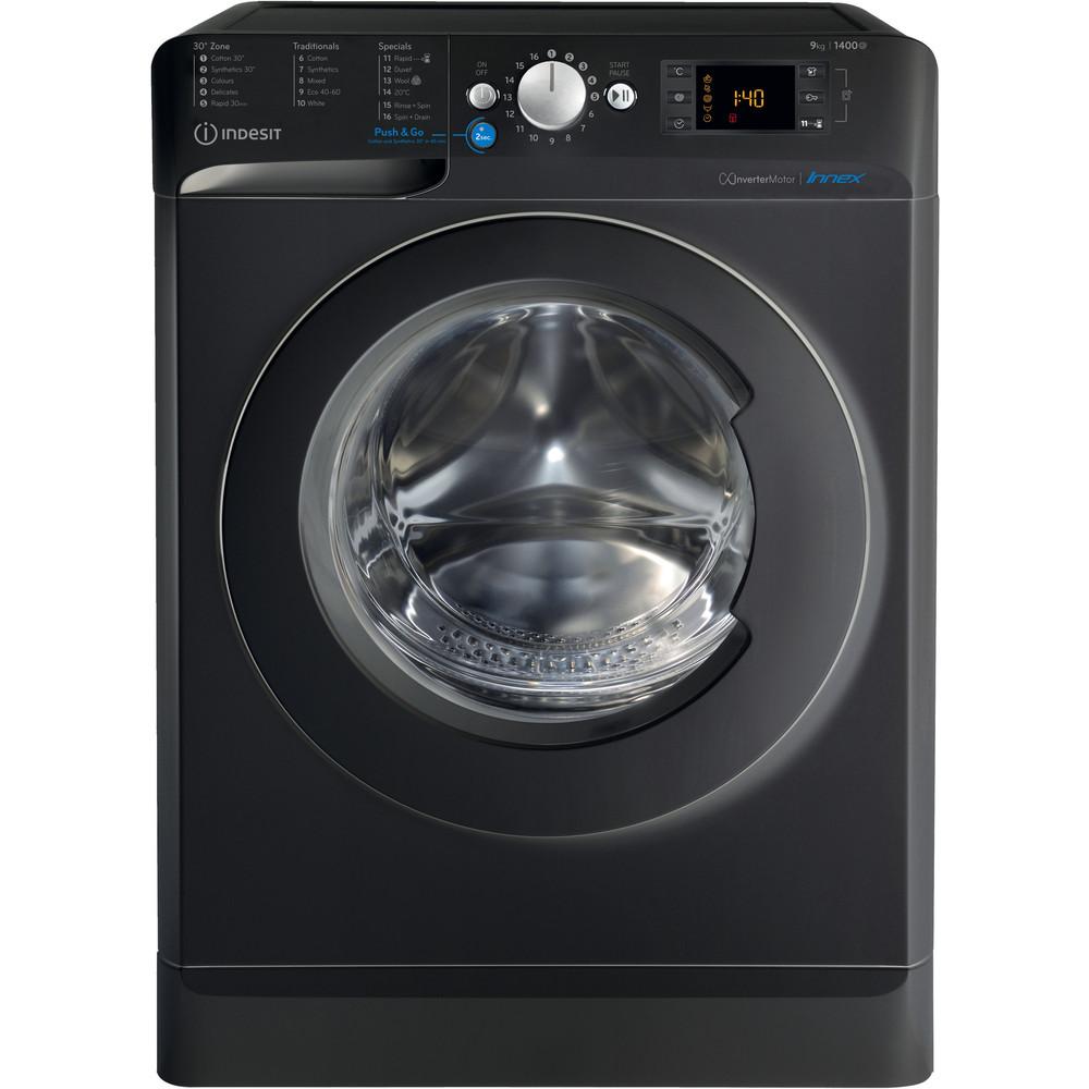 Indesit Washing machine Free-standing BWE 91483X K UK N Black Front loader A+++ Frontal