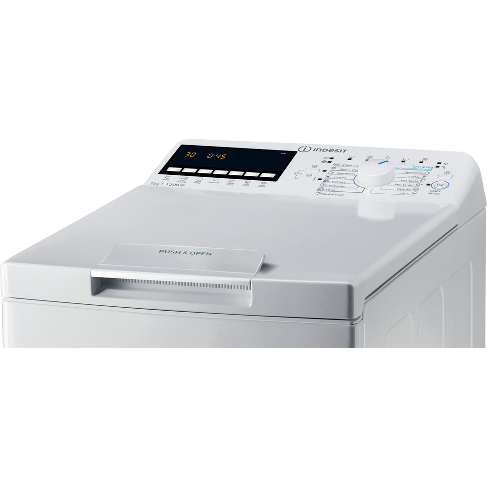 Indesit Mosógép Szabadonálló BTW B7220P EU/N Fehér Top loader A+++ Control panel