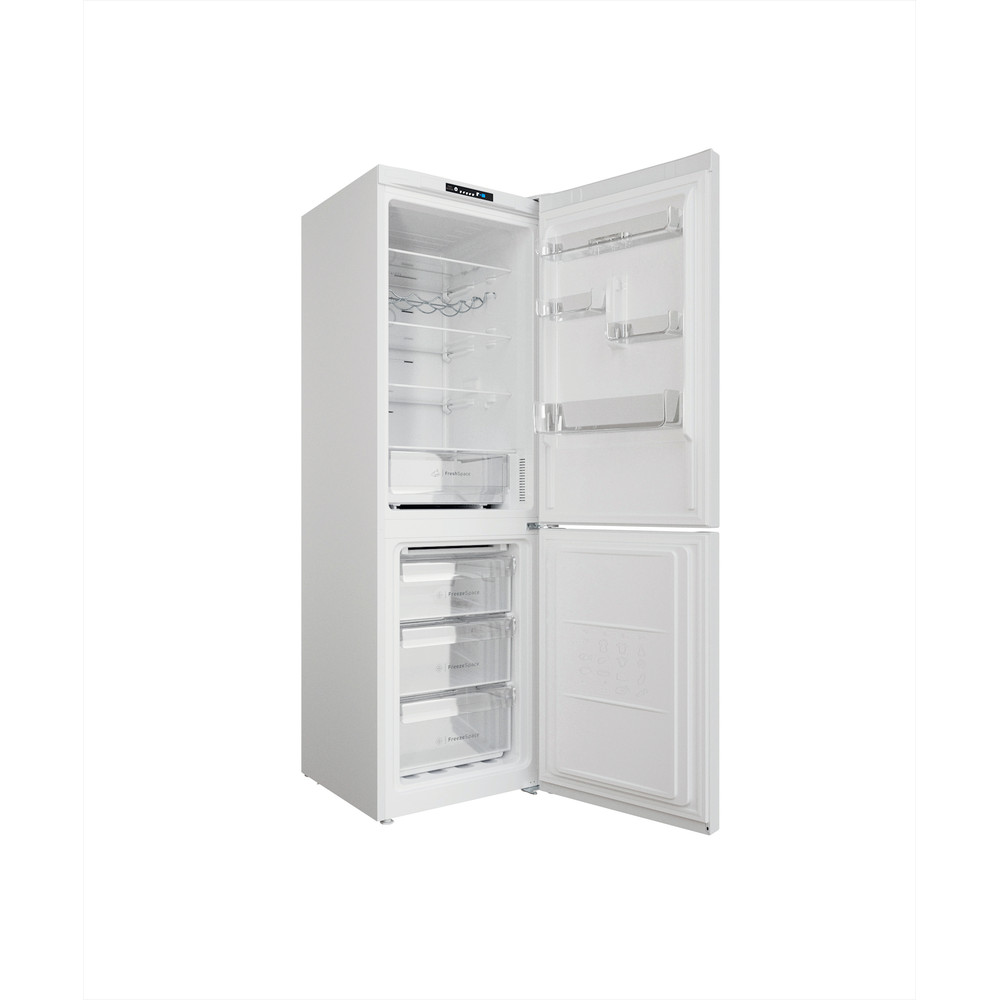 """Indesit"" Šaldytuvo / šaldiklio kombinacija Laisvai pastatoma INFC8 TI21W Balta 2 doors Perspective open"